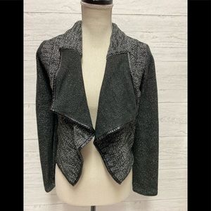 Express black white open front cardigan xs